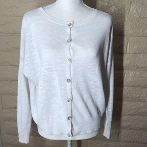 Eileen Fisher Linen Cotton Blend Cardigan Sweater